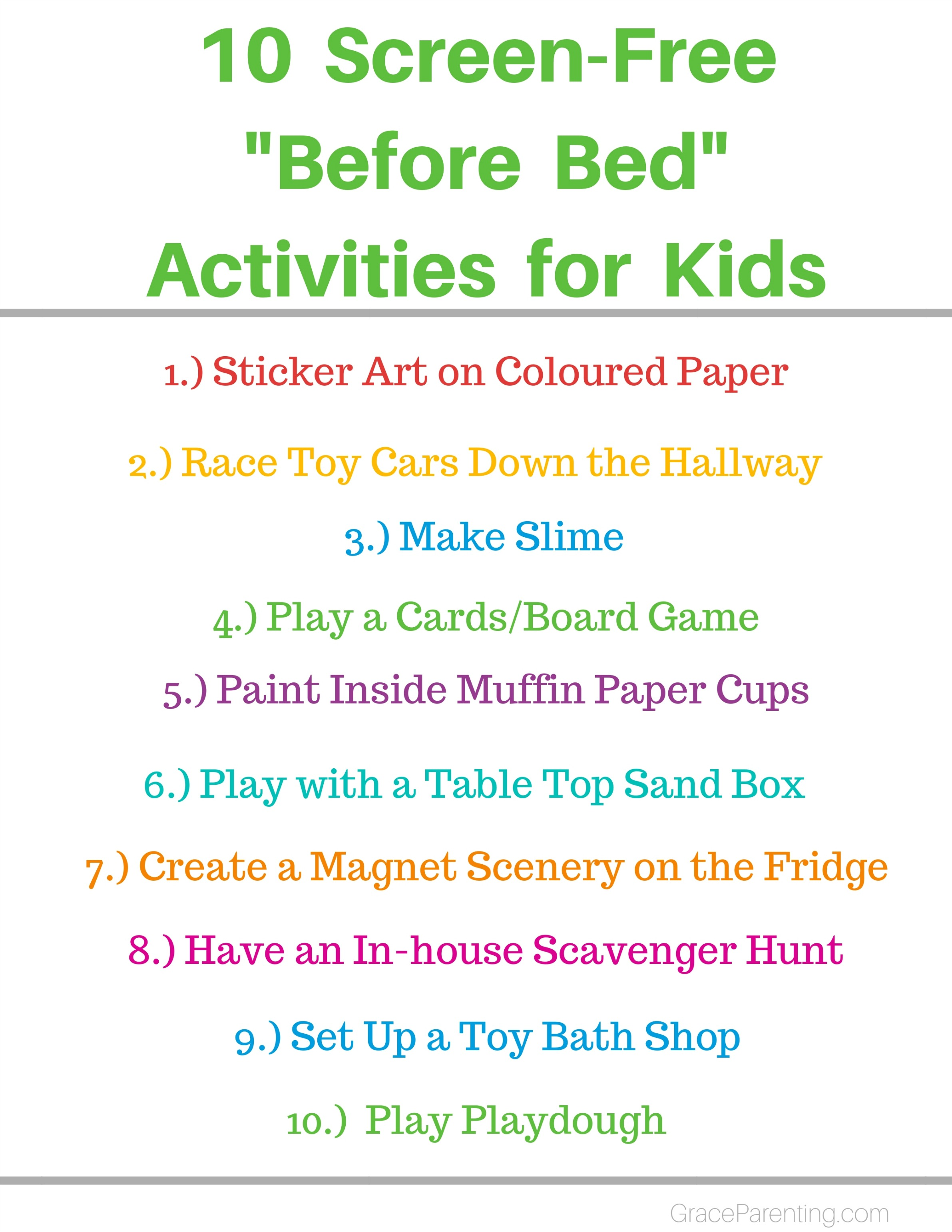 10 Screen-free before bed activities for kids